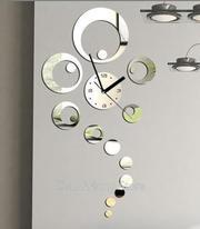 настенные кварцевые часы из зеркального акрила