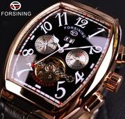 Часы мужские,  механические с автоподзаводом Forsining,  бочка,  крупные.