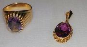 Золотой  перстень и подвеска СССР